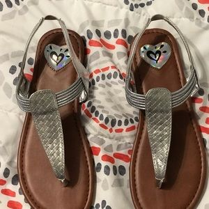 Girls Size 4 Justice Silver Sandals